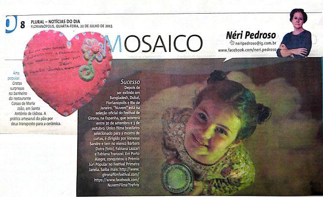 Coluna MOSAICO, de Néri Pedroso, no Jornal Notícias do Dia de 22 de julho de 2015.