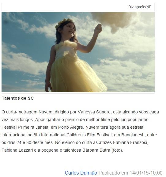 Nuvem - coluna Ponto Final de Carlos Damião - Notícias do Dia - 14/01/2015